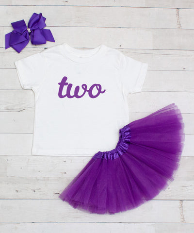 Two - Birthday 3pc T-Shirt and Tutu Set
