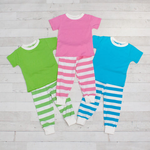 Striped Short Sleeve Pajamas - Top & Pants