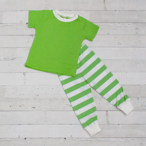 Striped Short Sleeve Pajamas - Top & Pants - 6 Colors