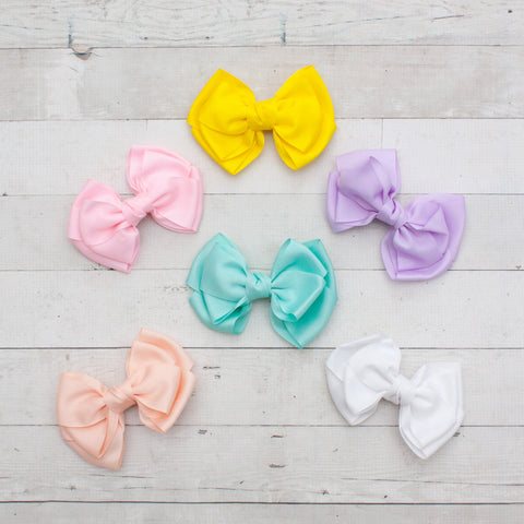 "6"" Pastel Bowtie Grosgrain Hair Bows - 6 Colors"