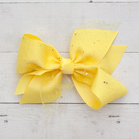 "6"" Yellow Sparkly Grosgrain Hair Bow Clip"
