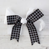 "6"" Black & White Windowpane Grosgrain Hair Bows - 4 Choices"