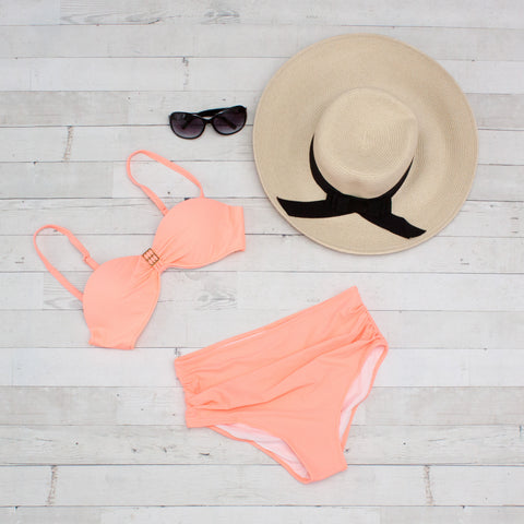 Peach Full Coverage Molded Cup Halter High Waist Bikini
