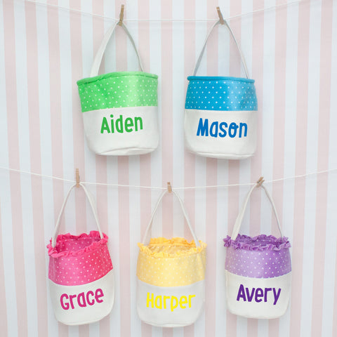 Personalized Round Polka Dot Easter Basket/Tote - 5 Colors