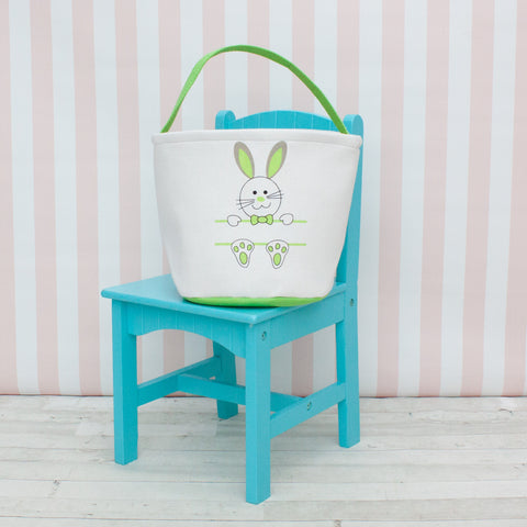 Personalized Round Little Bunny Easter Basket/Tote - 4 Colors