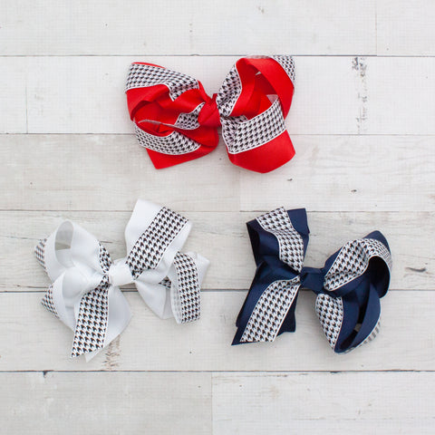 "6"" Houndstooth & Grosgrain Hair Bows - 3 Colors"