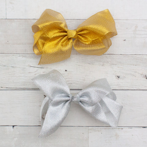 "6"" Organza Hair Bow Clips - 2 Colors"