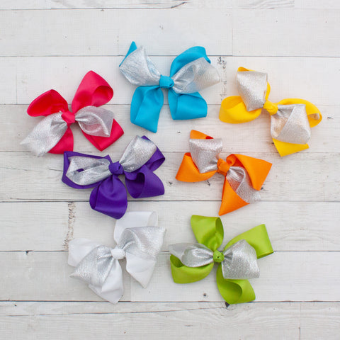 "6"" Grosgrain & Organza Hair Bows - 7 Colors"