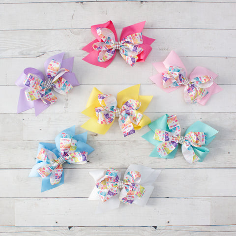 "6"" Easter Bunny Rhinestone Center Pinwheel Double Bow - 7 Pastel Colors"
