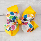 "6"" Easter Eggs Grosgrain Double Bow - 7 Bold Colors"