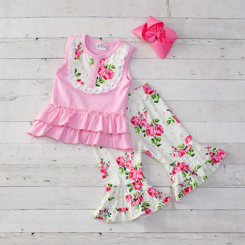 Pink Blossoms 2 Piece Outfit - Top & Capris