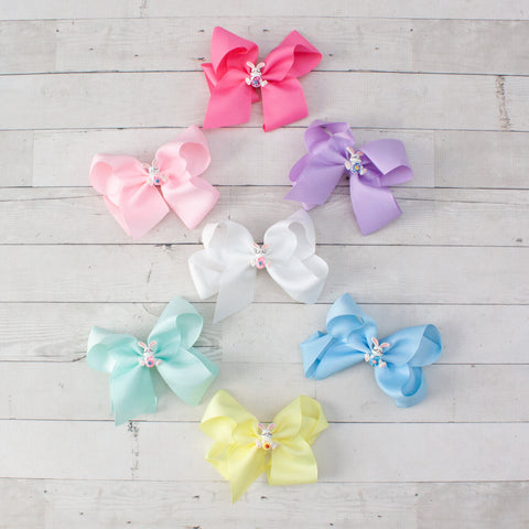 "6"" Easter Bunny Hair Bow - 7 Pastel Colors"