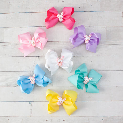 "6"" Happy Easter Bunny Hair Bow - 7 Pastel Colors"