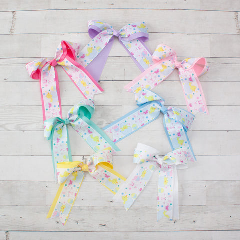 "6"" Easter Long Tail Hair Bow - 7 Pastel Colors"