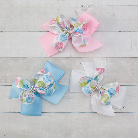 "6"" Spring Spirals Grosgrain Bow - 3 Pastel Colors"
