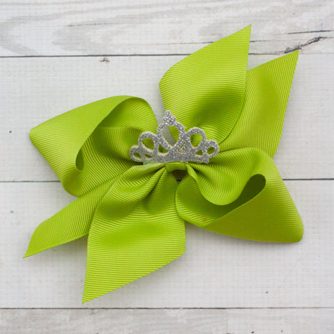 "6"" Grosgrain Jeweled Crown Hair Bow Clip"