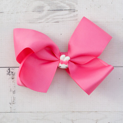 "6"" Sleepy Bunny Grosgrain Hair Bow - 7 Pastel Colors"