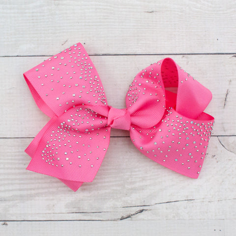 "6"" Silver Studded Grosgrain Hair Bow - 7 Pastel Colors"