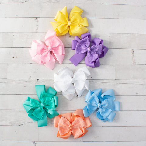 "6"" Lace & Grosgrain Layered Pinwheel Hair Bow - 7 Pastel Colors"
