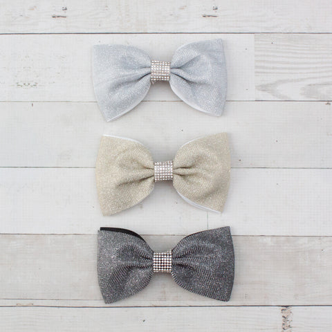 "6"" Shimmering Party Bowtie Hair Bow Clip - 3 Colors"
