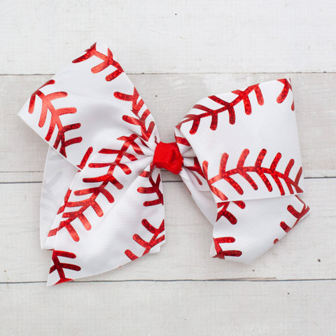 "8"" Baseball Hair Bow"