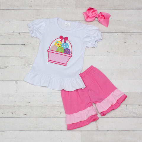 Hot Pink Easter Basket 2 Piece Outfit - Top & Shorts