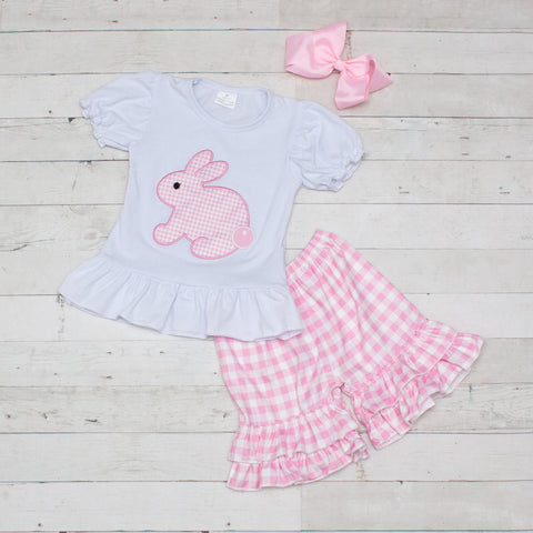 Pink Checkered Easter Bunny 2 Piece Outfit - Top & Shorts