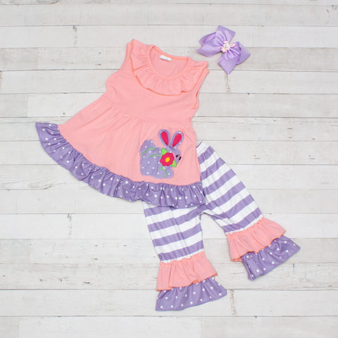 Easter Bunny Pink with Lavender Dots & Stripes 2 Piece Outfit - Top & Capris