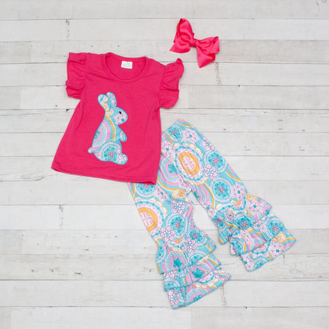 Dark Pink & Aqua Boho Bunny 2 Piece Outfit - Top & Pants