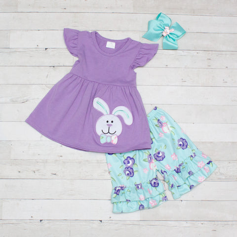 Lavender & Aqua Easter Bunny 2 Piece Outfit - Top & Shorts