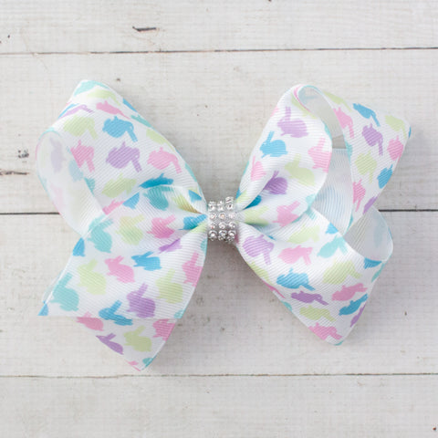 "6"" Pastel Easter Bunny Grosgrain Big Hair Bow Clip - 2 Choices"