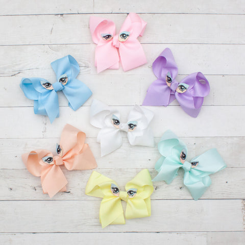 "6"" Owl Eye Grosgrain Hair Bow - 7 Pastel Colors"