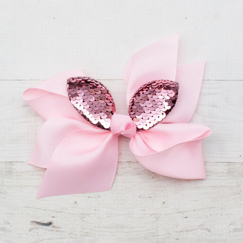 "6"" Big Flip Sequin Bunny Ear Grosgrain Hair Bows - 4 Colors"