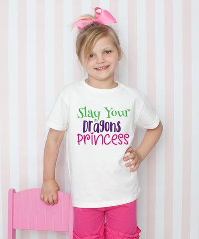 Slay Your Dragons Princess - Graphic T-Shirt & Bow Set