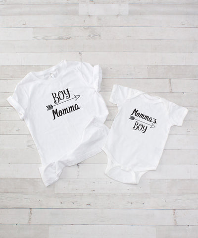 Mommy & Me Tee Set - Boy Momma - Includes Both Shirts