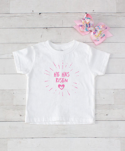 He Has Risen - Pink Graphic T-Shirt & Bow Set