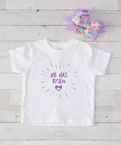 He Has Risen - Lavender Graphic T-Shirt & Bow Set
