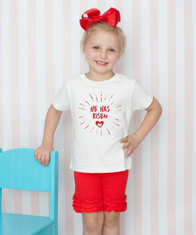He Has Risen - 3pc Shirt and Short Set Red