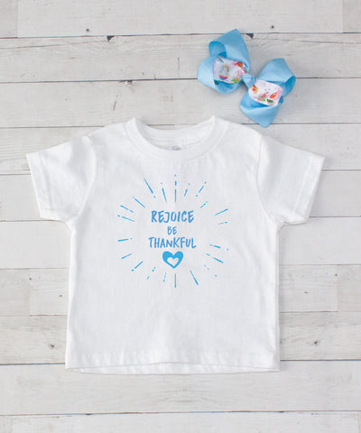 Rejoice Be Thankful - Light Blue Graphic T-Shirt & Bow Set