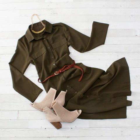 Army Green Maxi Shirt Dress with Sash