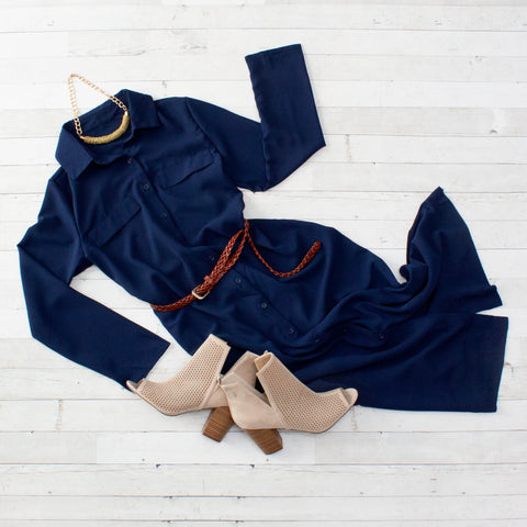 Navy Maxi Shirt Dress with Sash