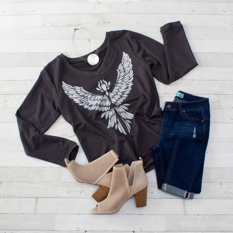 Charcoal Eagle Spread Wing Long Sleeve Top