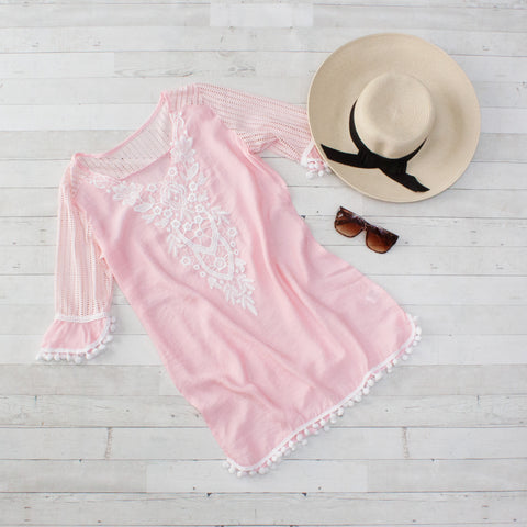 Pink Crochet Pom Pom Trim Beach Cover up