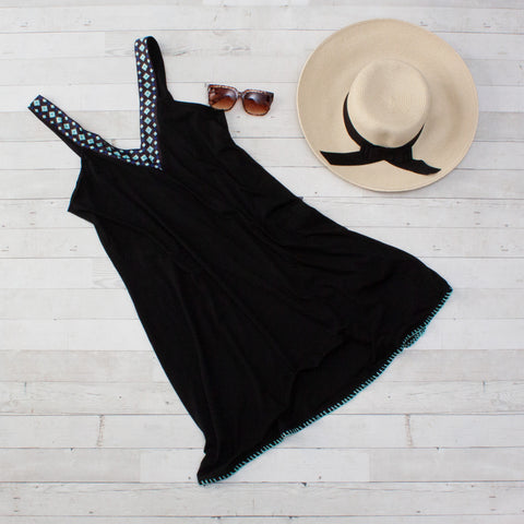 Black V-Neck Beach Cover Up Dress