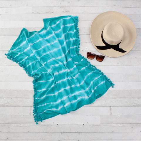 Teal Tie Dye Beach Cover Up