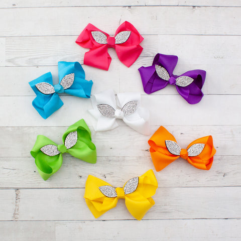 "6"" Rhinestone Bunny Ear Grosgrain Hair Bow - 7 Bold Colors"
