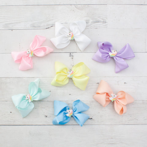 "4"" Unicorn Center Grosgrain Hair Bow - 7 Pastel Colors"