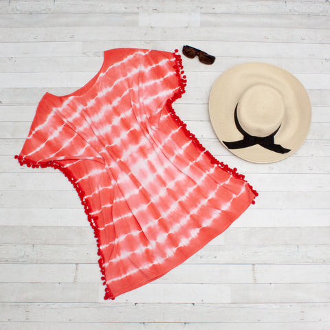 Coral Tie Dye Beach Cover Up