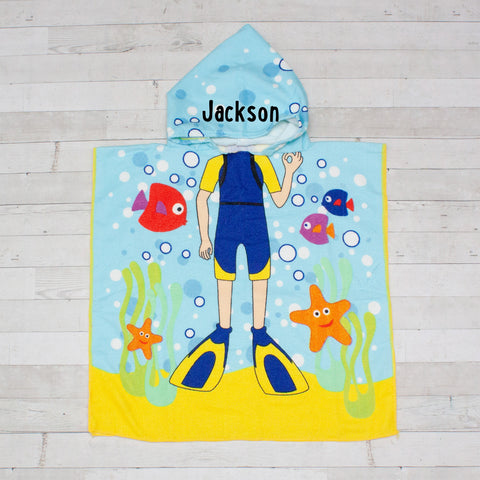 Scuba Boy Beach Towel Poncho