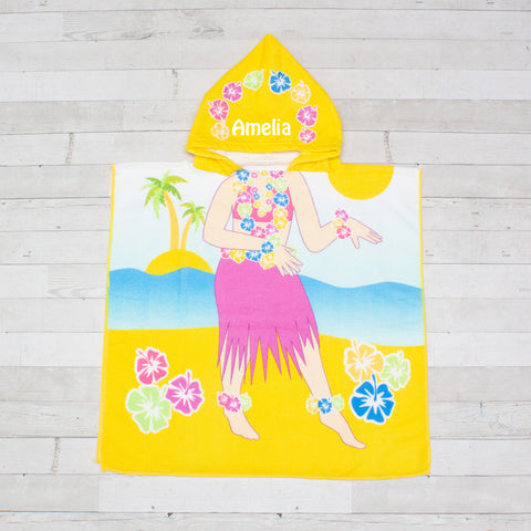 Hula Girl Beach Towel Poncho